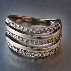 Jewelry - Platinum Plated CZ Three-Layer Ring